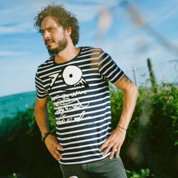 camiseta algodón orgánico rayas hombre bichobichejo